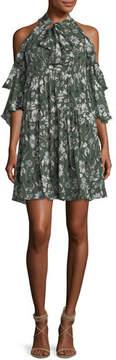 Shoshanna Hana Floral Cold-Shoulder Dress