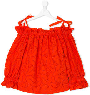 MSGM TEEN perforated Bardot blouse