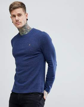 Farah Lesser Slim Fit Waffle Textured Long Sleeve Top in Navy