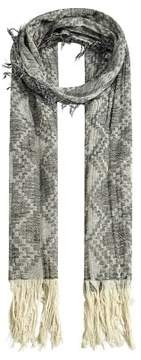 MANGO Fringed print scarf