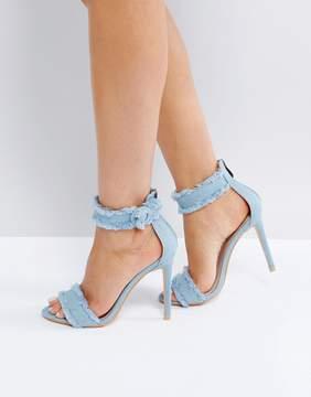 Public Desire Effy Denim Frayed Heeled Sandals