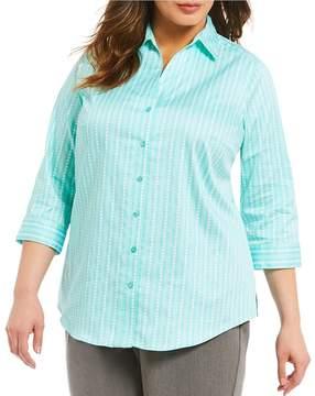Allison Daley Plus 3/4 Sleeve Vertical Dot Print Button Front Shirt