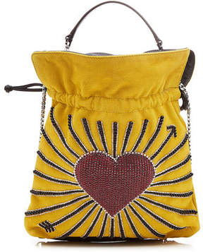 Les Petits Joueurs Trilly Hearts Embellished Suede Pouch