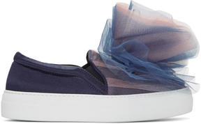 Joshua Sanders Navy Tulle Slip-On Sneakers