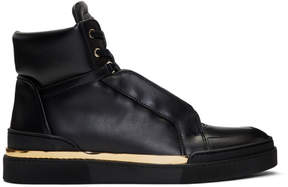 Balmain Black Leather Atlas High-Top Sneakers