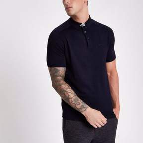 River Island Mens Navy slim fit short sleeve knitted polo shirt