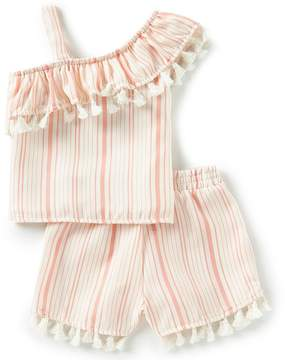 Rare Editions Little Girls 2T-6X Striped Asymmetrical-Ruffled Top & Shorts Set