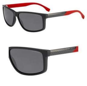 HUGO BOSS BOSS by Men's B0833s Rectangular Sunglasses, Gray Carbon Red/Smoke Polarized, 60 mm