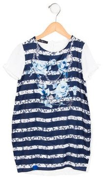 Miss Blumarine Girls' Embellished Printed Dress