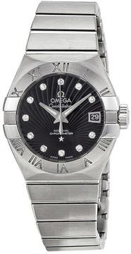 Omega Constellation Chronometer Black Dial Stainless Steel Ladies Watch