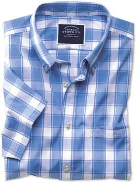 Charles Tyrwhitt Slim Fit Button-Down Non-Iron Poplin Short Sleeve Blue and White Check Cotton Casual Shirt Single Cuff Size XS
