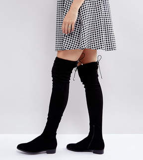 Asos KEEP UP WIDE LEG Flat Over The Knee Boots