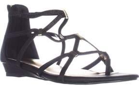 Thalia Sodi Ts35 Pamella Flat Gladiator Sandals, Black Metallic.
