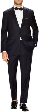 Hickey Freeman Men's Solid Super 120s Satin Trim Peak Tuxedo