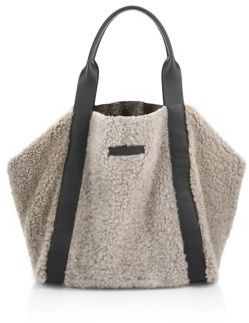 Brunello Cucinelli Large Reversible Shearling & Metallic Leather Tote