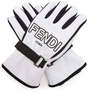 FENDI Bi-colour logo-print gloves