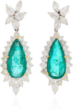 18K Gold Emerald And Diamond Earrings