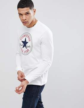 Converse Long Sleeve Top With Chuck Patch In White 10004863-A01