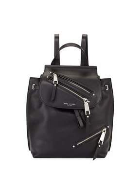 Marc Jacobs Zip Leather Flap Backpack, Black