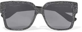 Saint Laurent Oversized Square-frame Glittered Acetate Sunglasses - Silver