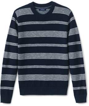 Lands' End Lands'end Men's Stripe Linen Cotton Textured Crewneck Sweater
