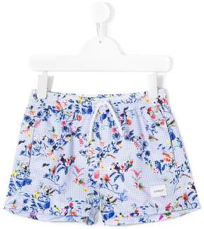 Dondup Kids gingham tropical print shorts