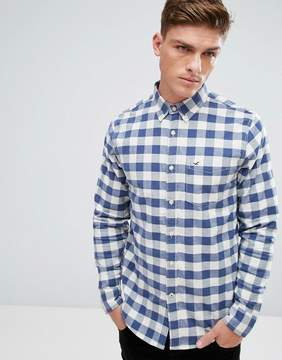 Hollister Oxford Shirt Windowpane Check Slim Fit in Navy