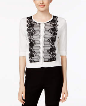 August Silk Contrast Lace-Trim Cardigan