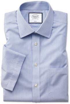 Charles Tyrwhitt Slim Fit Non-Iron Natural Cool Short Sleeve Blue Stripe Cotton Dress Shirt Size 15.5/Short