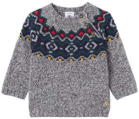 Petit Bateau Baby boy's jacquard pullover in a wool blend