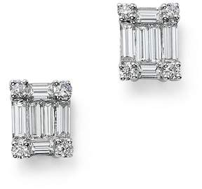 Bloomingdale's Diamond Round and Baguette Stud Earrings in 14K White Gold, .75 ct. t.w. - 100% Exclusive