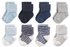 Hudson Baby Navy & Gray Stripe Chenille Eight-Pair Socks Set - Infant