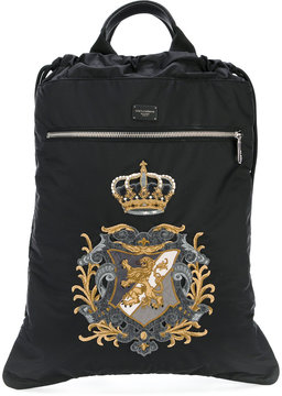 Dolce & Gabbana drawstring backpack with crest patch