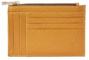 Aspinal of London Double Sided Zipped Card Coin Holder In Mustard Saffiano