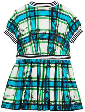 Burberry Melby Scribble Check Silk Pleated Dress, Size 4-14