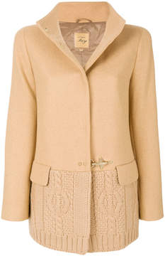 Fay cable knit panelled jacket