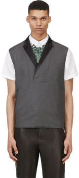 Kris Van Assche Krisvanassche Grey Wool Diamond Pinstripe Vest