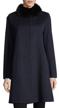 Fleurette Button-Front Fur-Trimmed Collar Wool Coat