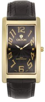 Croton Men's Aristocrat Goldtone Curved Rectangular Stainless Bracelet Watch with Black Dial