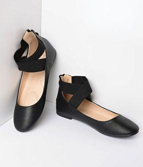 Unique Vintage Retro Style Black Elastic Cross Ankle Strap Flats Shoes