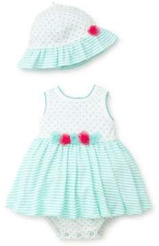 Little Me Baby Girl's Three-Piece Polka Dot Cotton Hat, Dress and Bloomer Set