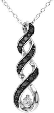 Black Diamond Kohl's 1/10 Carat T.W. & Lab-Created White Sapphire Sterling Silver Twist Pendant Necklace
