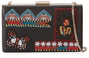 Valentino Ricamo Beaded Leather Clutch Bag, Black