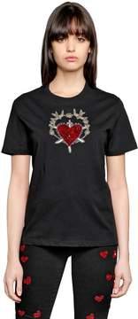 Amen Sacred Heart Embellished Jersey T-Shirt