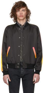 Saint Laurent Black Rainbow Stripe Bomber Jacket
