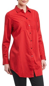 Foxcroft Women's Gina In Holiday Stripe Shirt