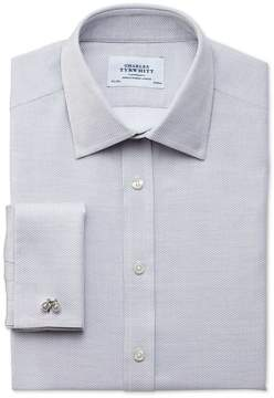 Charles Tyrwhitt Slim Fit Egyptian Cotton Diamond Texture Light Grey Dress Shirt Single Cuff Size 15/34