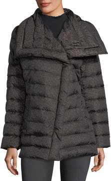 T Tahari Asymmetric-Collar Mid-Weight Puffer Jacket, Brown/Black