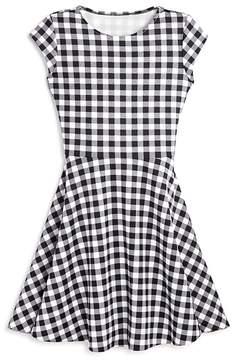Aqua Girls' Flared Check Dress, Big Kid - 100% Exclusive