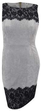 Calvin Klein Women's Faux-Suede Lace-Trim Sheath Dress (Grey/Black)